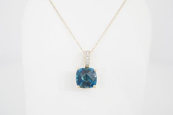 10k London Blue Topaz & Diamond Necklace