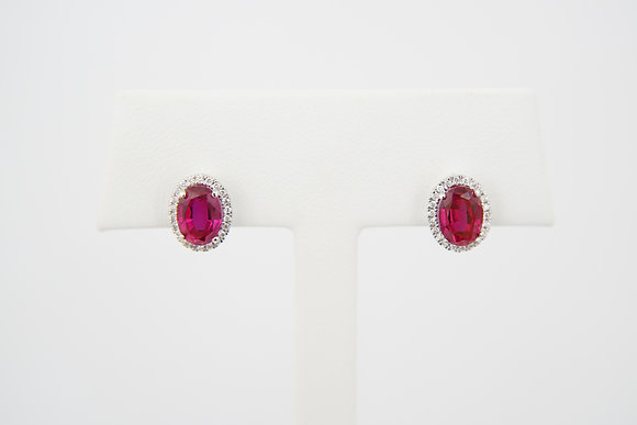 14k Diamond & Created Ruby Earrings