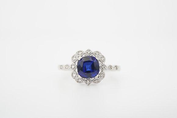 14k Created Blue Sapphire & Diamond Halo Ring