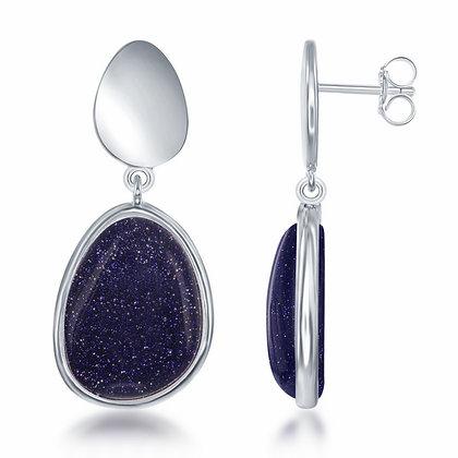 Sterling Silver Blue Sandstone Earrings