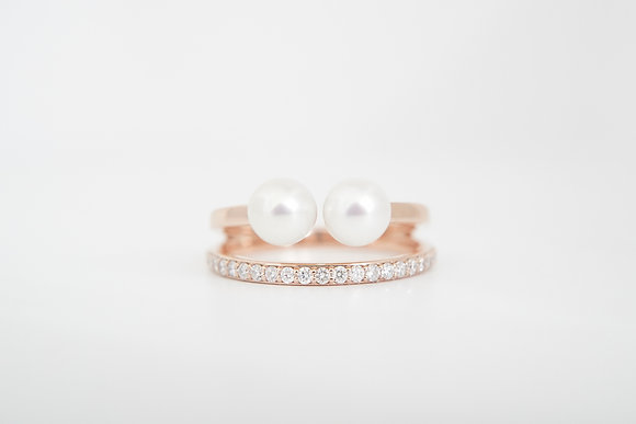 14k Pearl & Diamond Double Ring