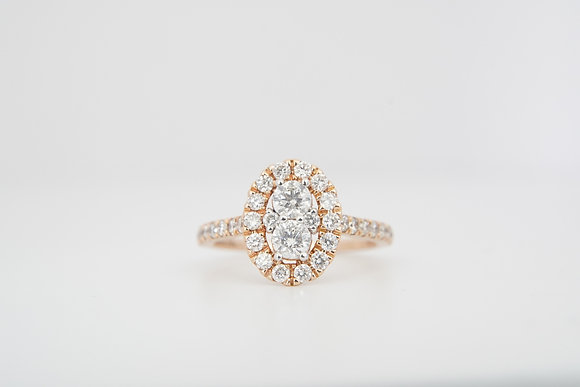 14k 1ctw Oval Halo Ring