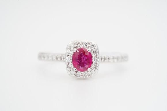 14k Natural Ruby & Diamond Halo Ring