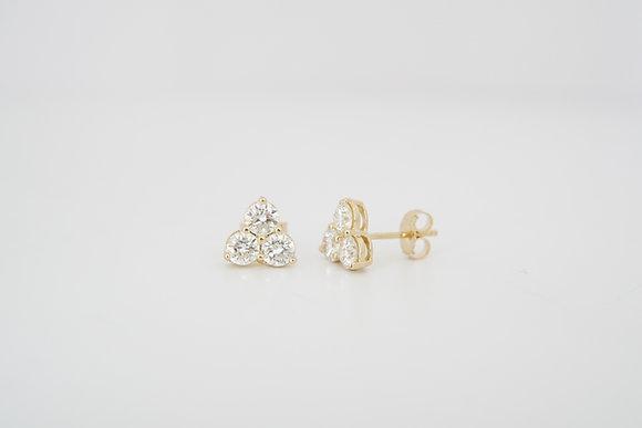 14k 1.20ctw Diamond Trio Cluster Earrings