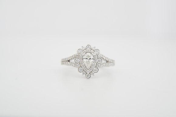 14k 3/4ctw Pear-Shape Halo Diamond Ring
