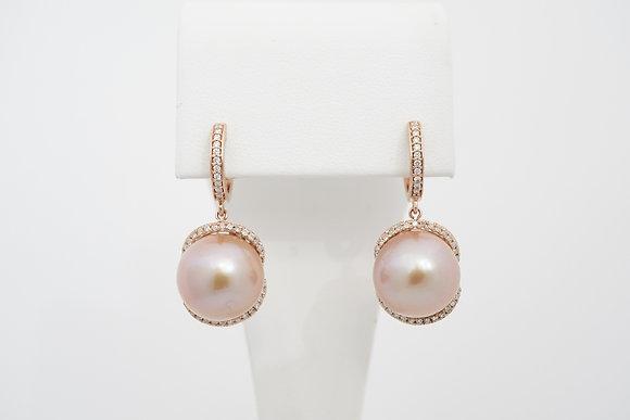 14k Rose Pearl & Diamond Drop Earrings