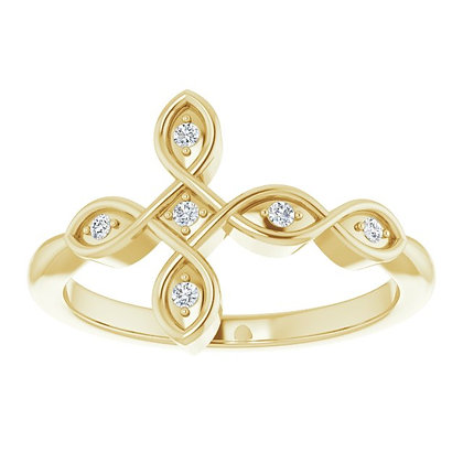 14k 1/20ctw Sideways Diamond Cross Ring