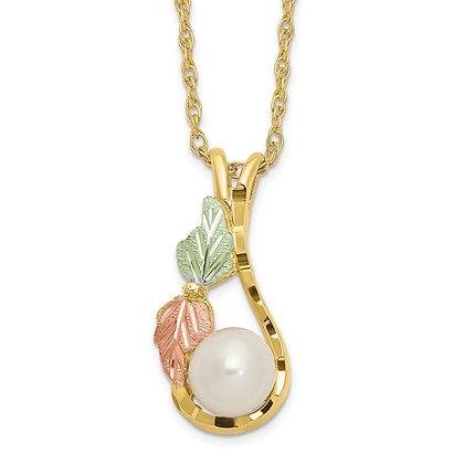 10k Black Hills Gold & Pearl Necklace