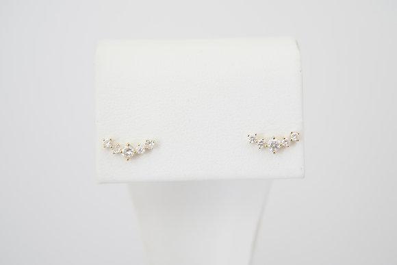 18k 1/4ctw Curved Diamond Stud Earrings