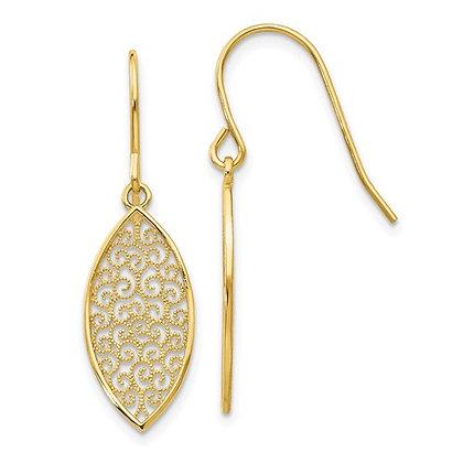 14k Filigree Swirl Dangle Earrings