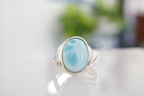 Sterling Silver and Larimar Bypass Ring