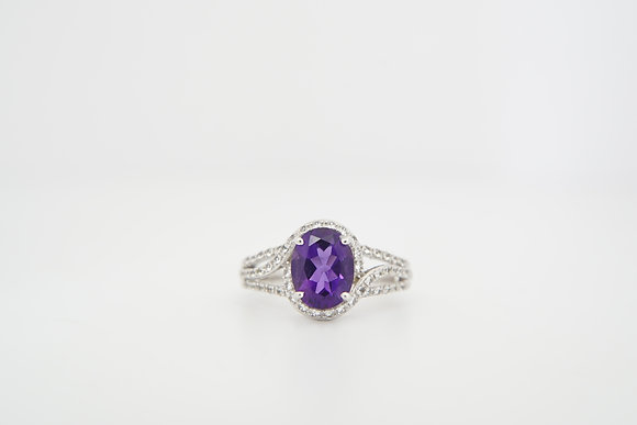 14k Amethyst & White Sapphire Oval Halo Ring