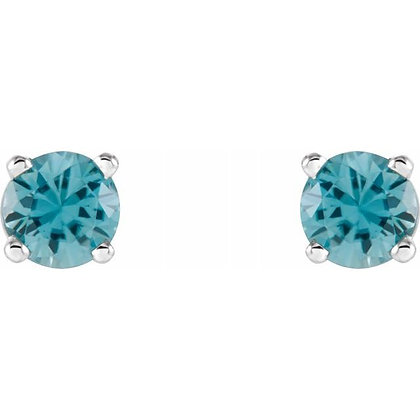 14k 4mm Blue Zircon Stud Earrings