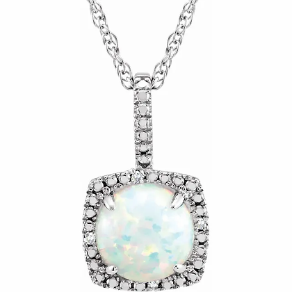 Sterling Silver Created Opal Halo-Style Necklace