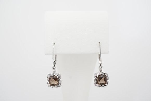 10k Smokey Quartz & Sapphire Halo Leverback Earrings