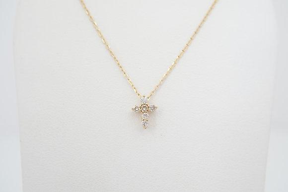 10k 1/10ctw Petite Diamond Cross Necklace