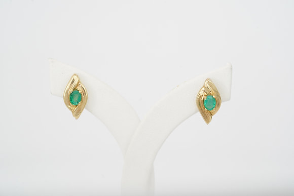 14k Emerald Vertical Bypass Earrings