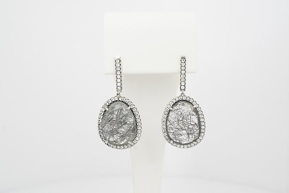 Sterling Silver, Tourmalinated Quartz & Topaz Drop Earrings