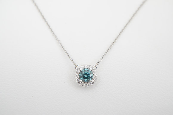 14k .58ctw Blue Diamond Halo Necklace
