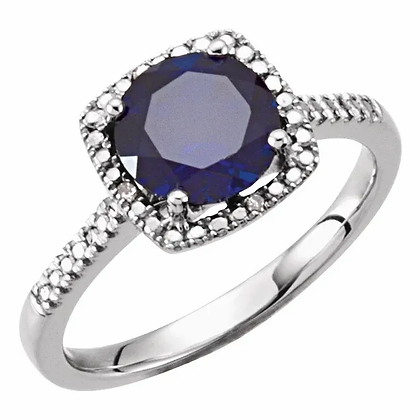 Sterling Silver Created Blue Sapphire Halo-Style Ring