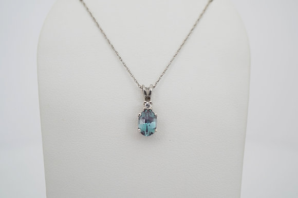 14k Created Alexandrite and Diamond Necklace