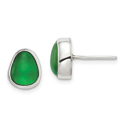 Sterling Silver Green Sea Glass Bezel Earrings