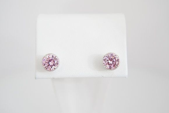 Sterling Silver 7mm Pink CZ Studs