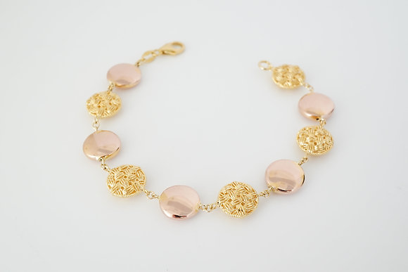 14k Yellow & Rose Polished/Woven Bead Bracelet