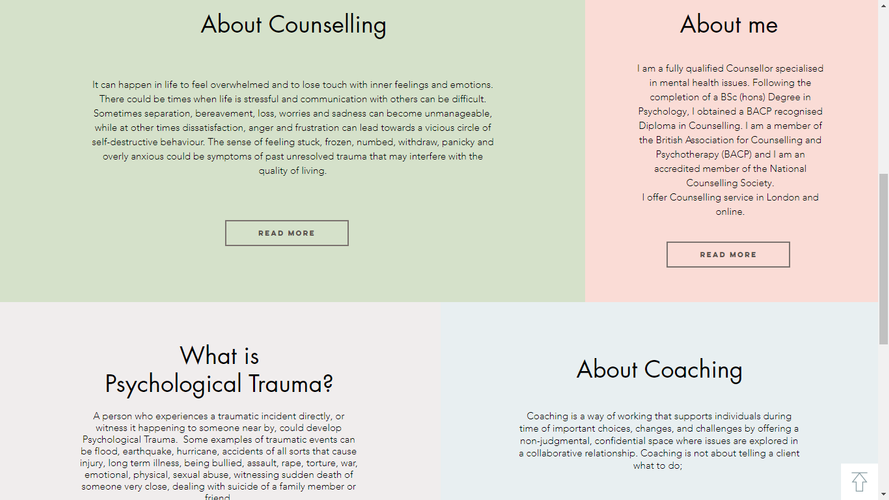 Counselling Here and Now Website Home Page