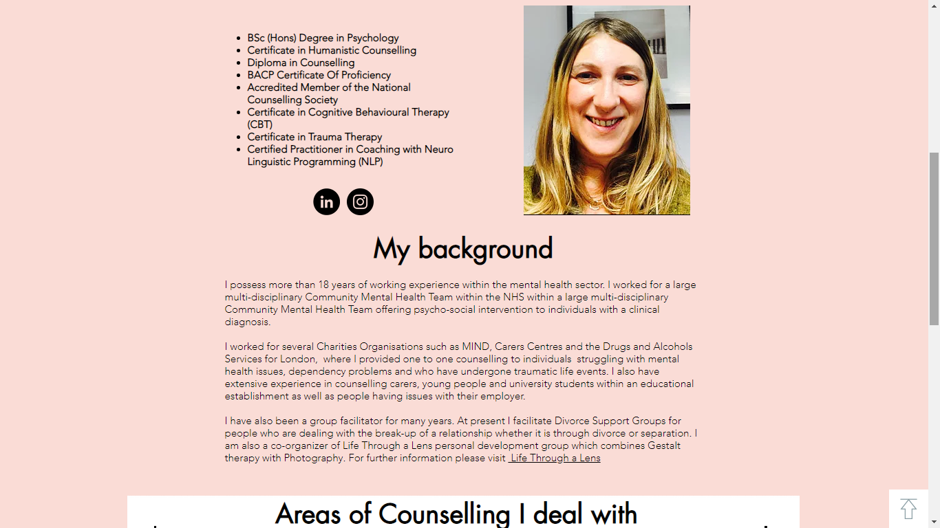Counselling Here and Now Website My back