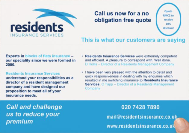 Residents Insurance Services Flyer reverse