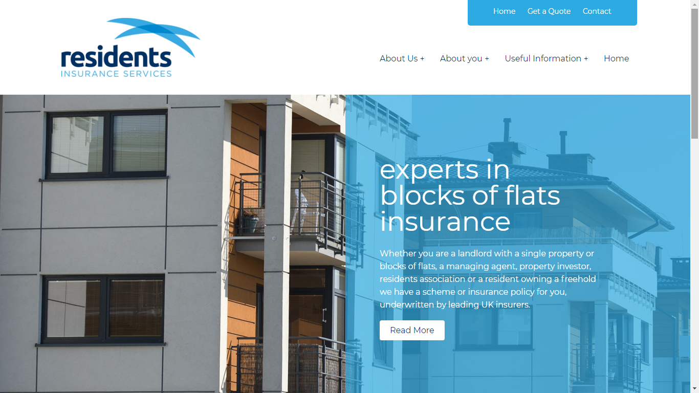 Residents Insurance Services WebsiteHome Page.p
