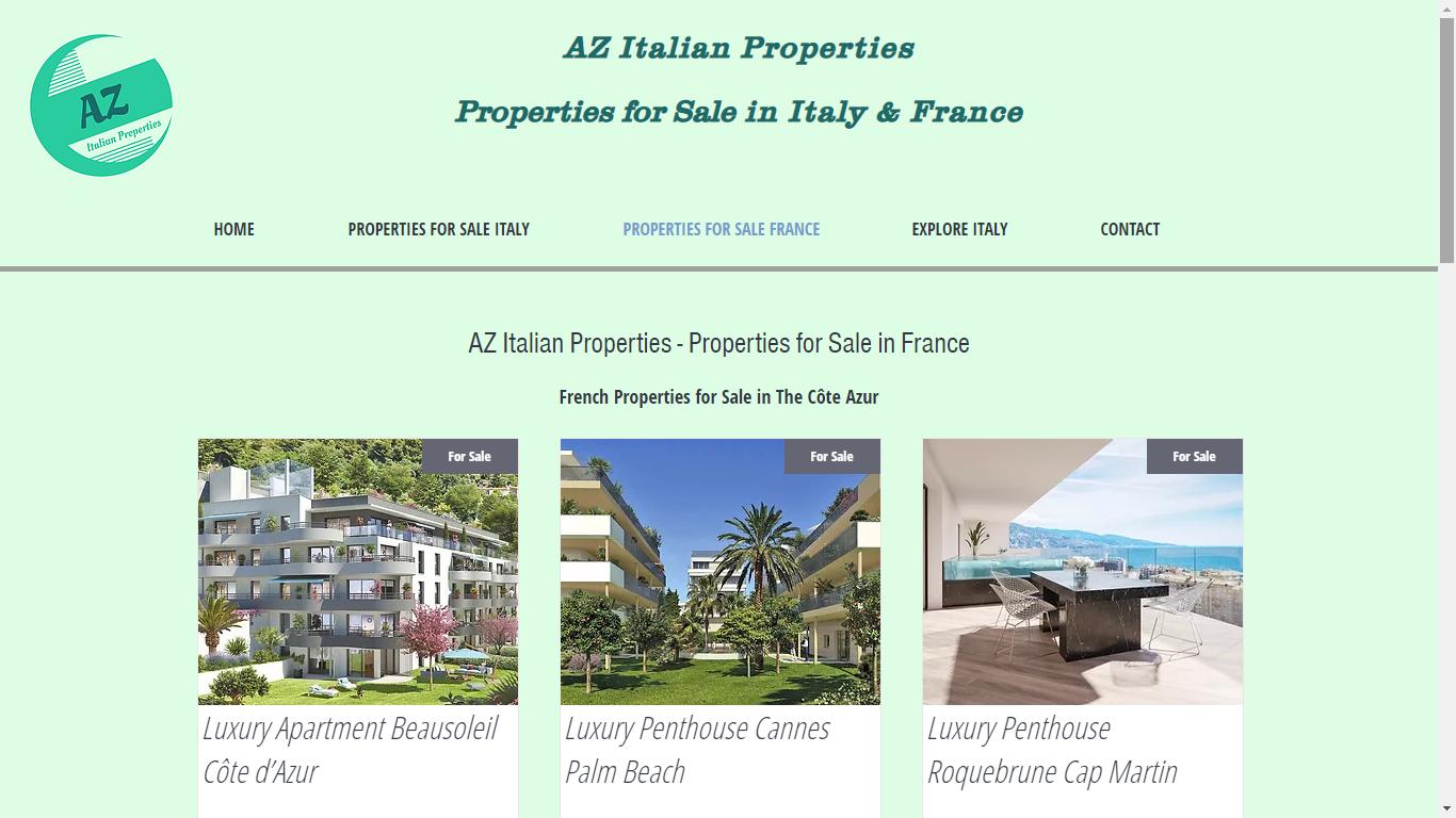 AZ Italian Properties Website For Sale France