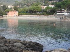 Fiascherino free beach in Liguria italy.