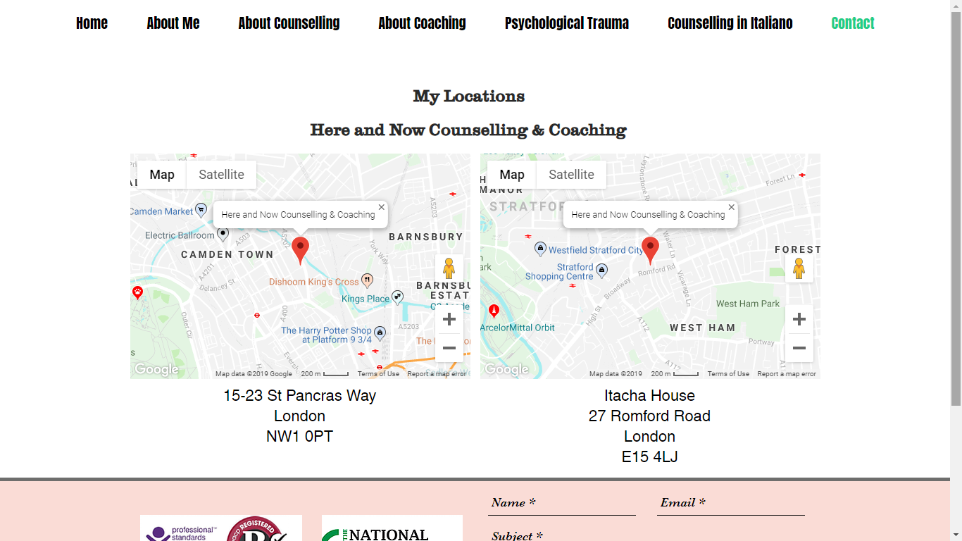 Counselling Here and Now Website Contact
