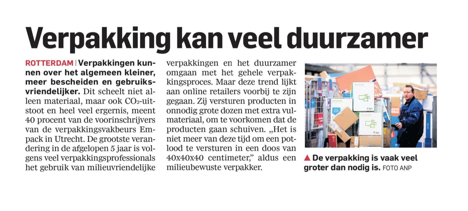 Empack article in Algemeen Dagblad