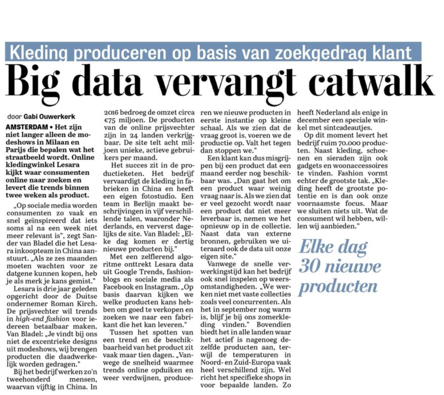 Big data artikel Telegraaf