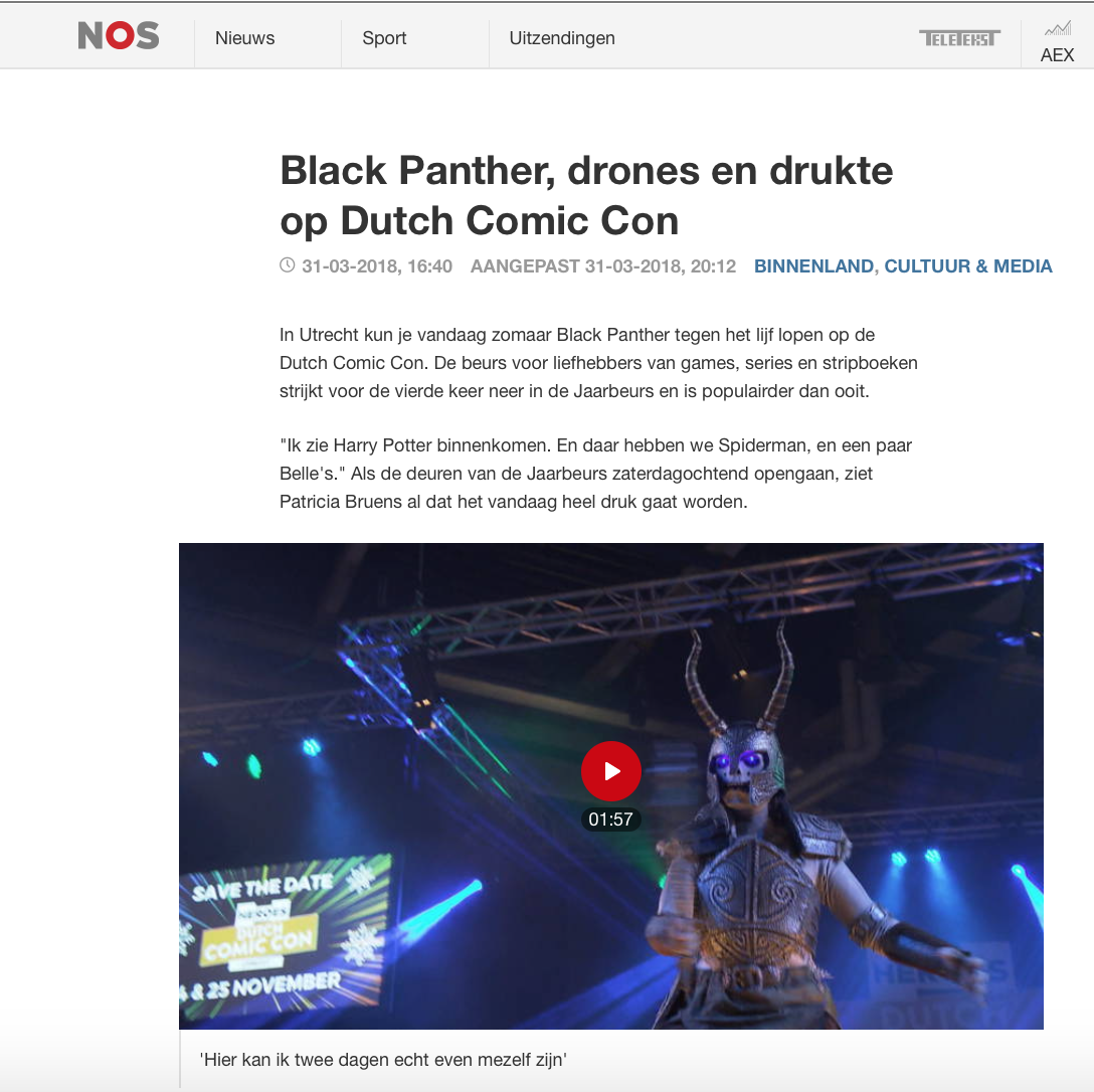 NOS 8 uur journaal over Comic Con