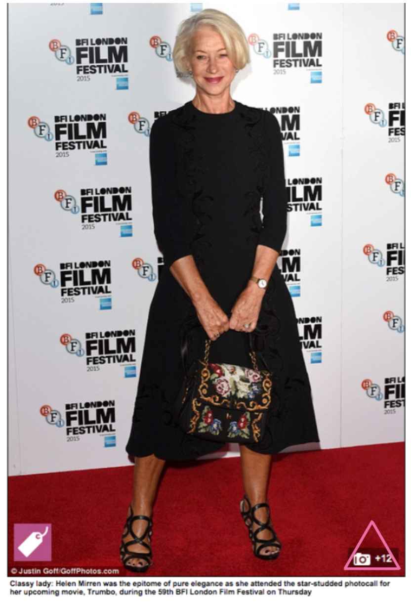 Actress Helen Mirren wearing Sargoss
