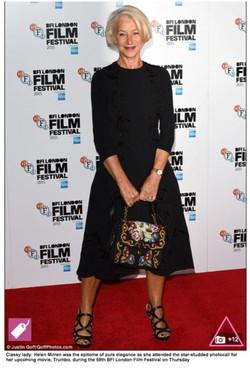 Actress Helen Mirren wearing Sargoss
