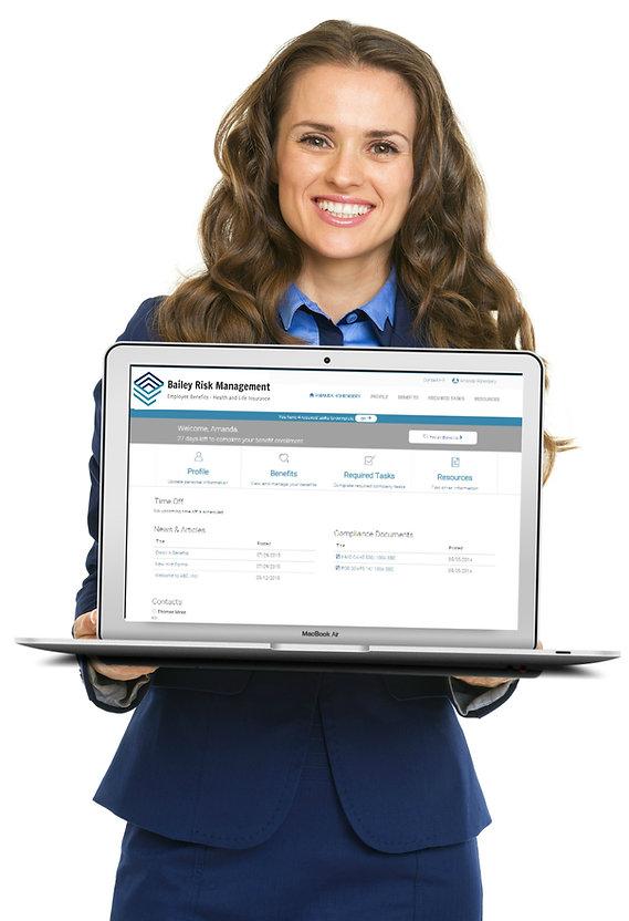 Employee holding inrollit computer RBC (