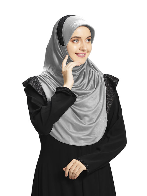 Modest Fashion Women's Soft feel good Fabric Naaz Hijab Silver in Black