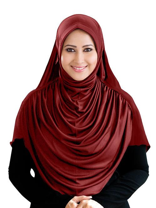 Modest Women's  Fleeted Stylish Feel Good Fabric FAEEZAH Hijab Dark Maroon