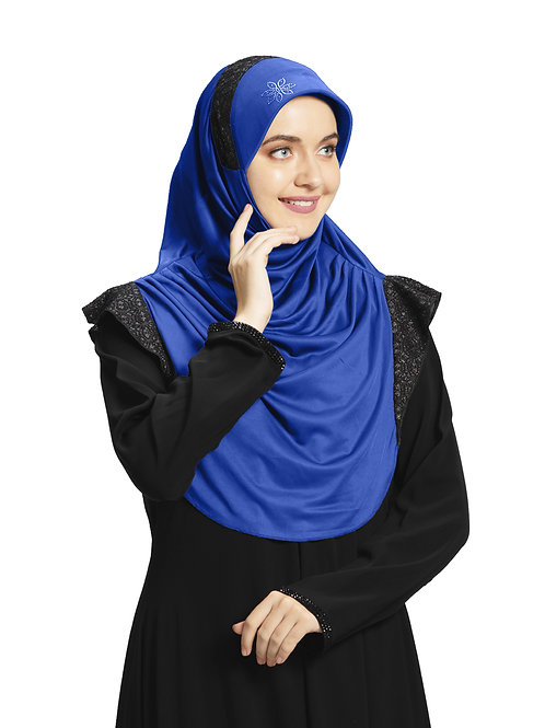 Modest Fashion Women's Soft feel good Fabric Naaz Hijab Royal Blue in Black