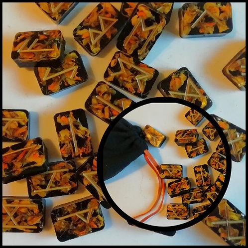 Jeu de 24 Runes Viking végétales avec sac de tirage et feuille d'interprétation