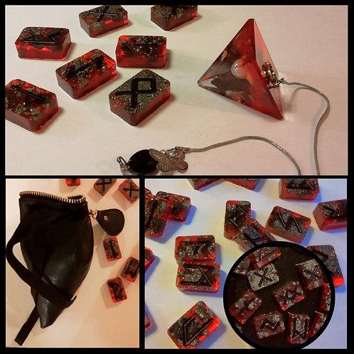 Set complet Pendule et Runes Viking minérales ( jeu de 24pcs) avec sac