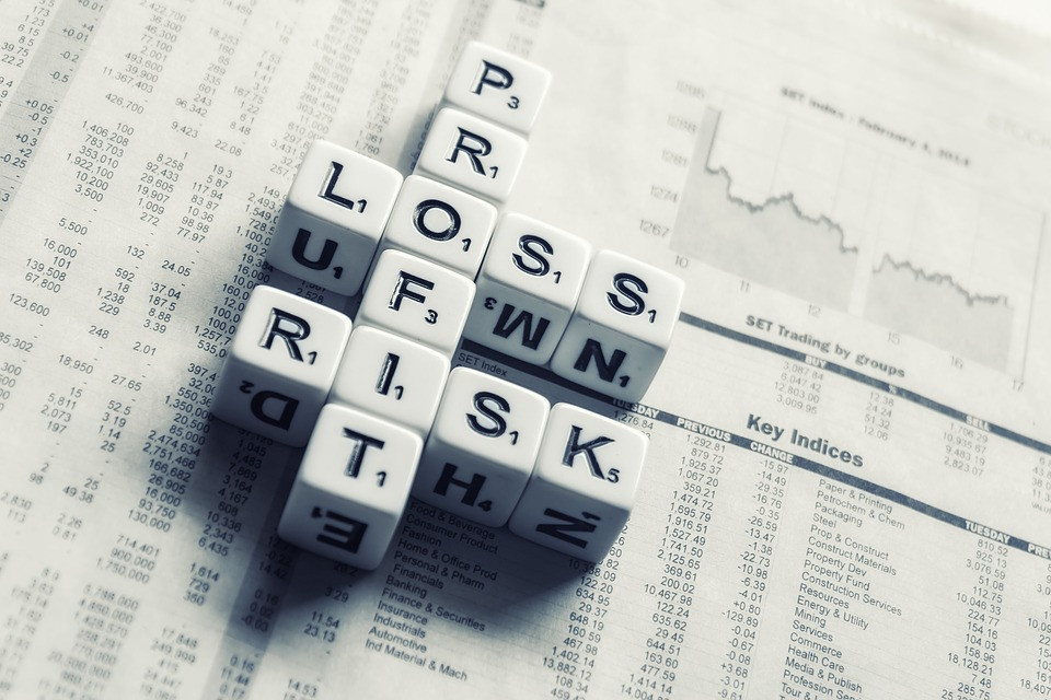 letter cubes with the words profit, risk and loss
