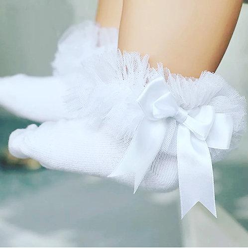 White Ruffle Bow Girls Socks