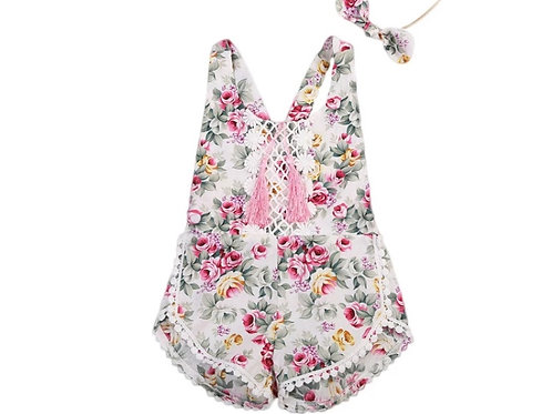 Girls Floral Tassel Jumpsuit