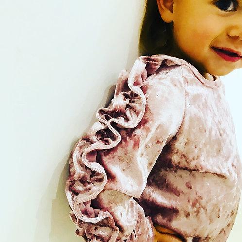 Baby Girl Frill Sleeve Velvet Tracksuit